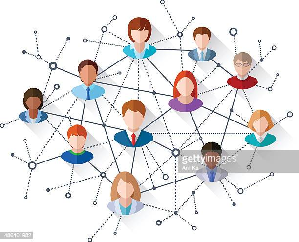 soziales netzwerk - medium group of people stock-grafiken, -clipart, -cartoons und -symbole