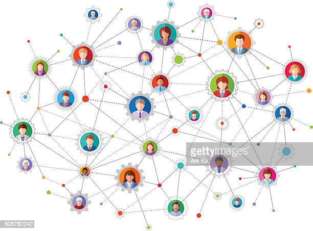 social network - link chain part stock illustrations