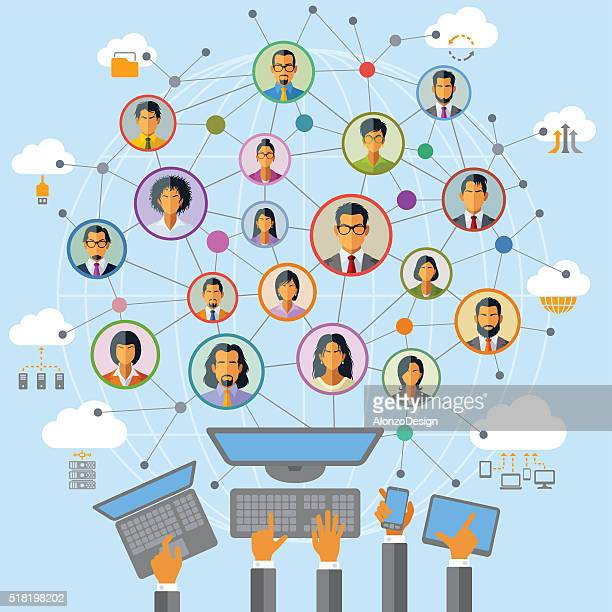 social network - computer network stock illustrations, clip art, cartoons, & icons
