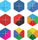 Social network web icon set with adding sign