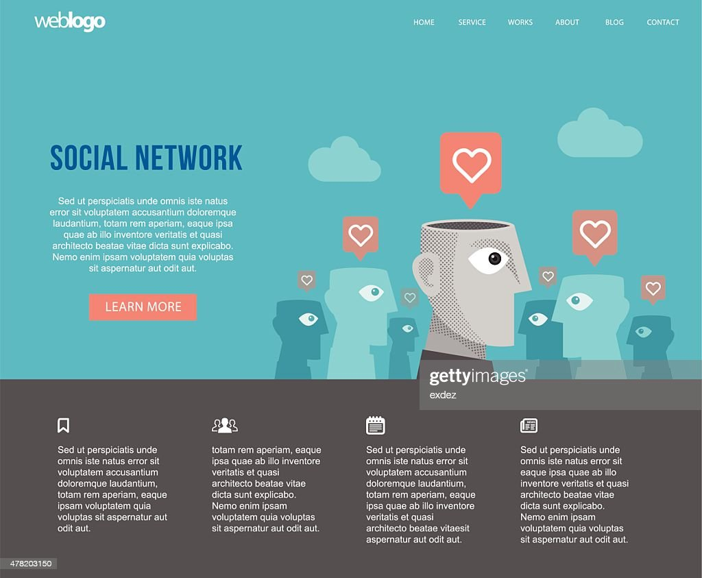 Social Network Website Layout Vector Art | Getty Images
