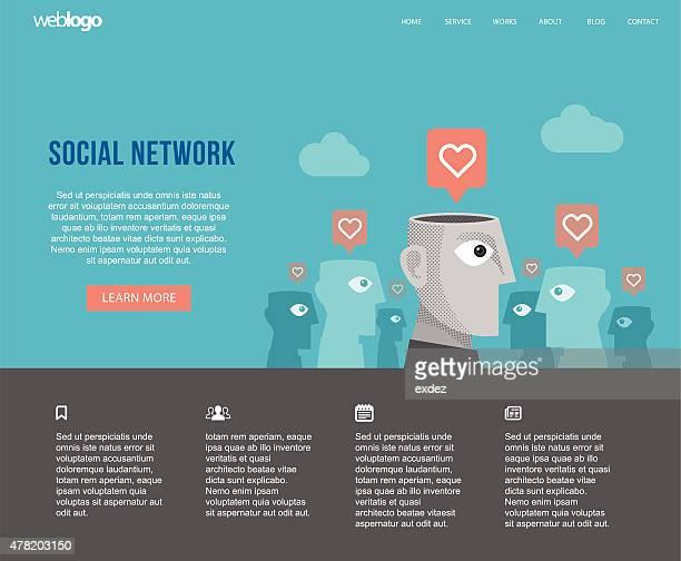 social network website layout - adulation stock illustrations, clip art, cartoons, & icons