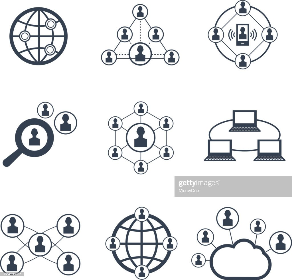 Social network with people symbols. Vector icons set