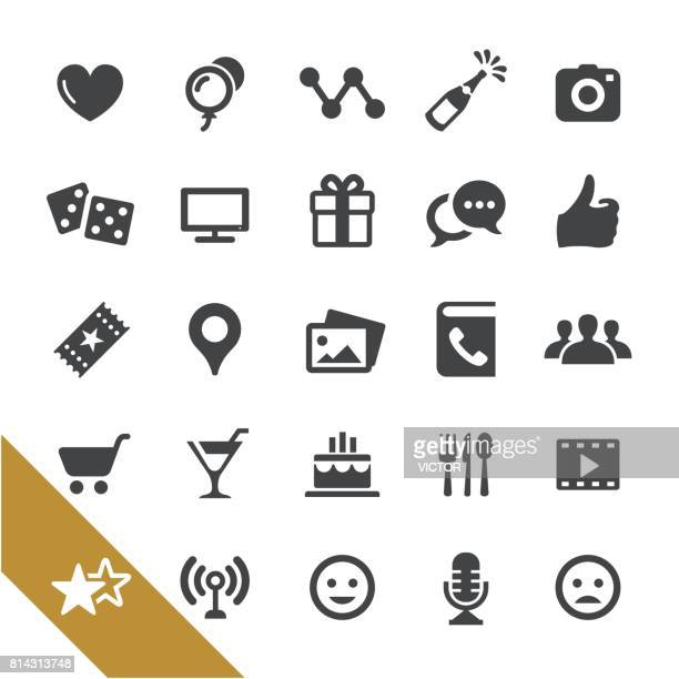 social networking and entertainment icons - select series - anthropomorphic foods stock illustrations, clip art, cartoons, & icons