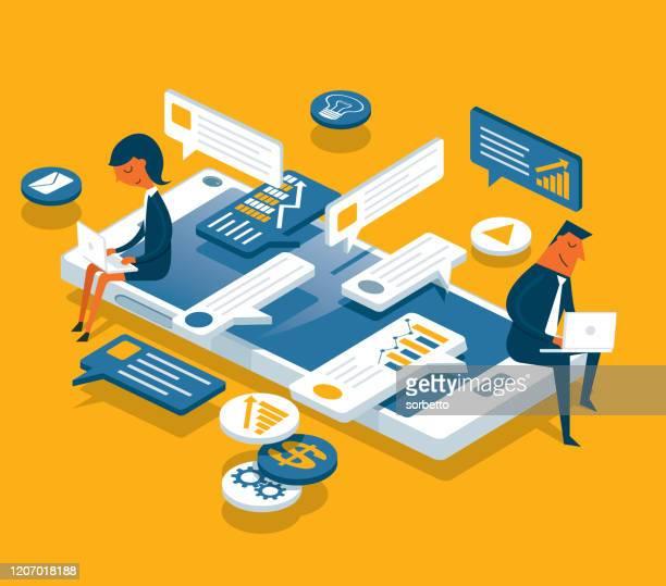 illustrazioni stock, clip art, cartoni animati e icone di tendenza di social networking - business people - comunicazione