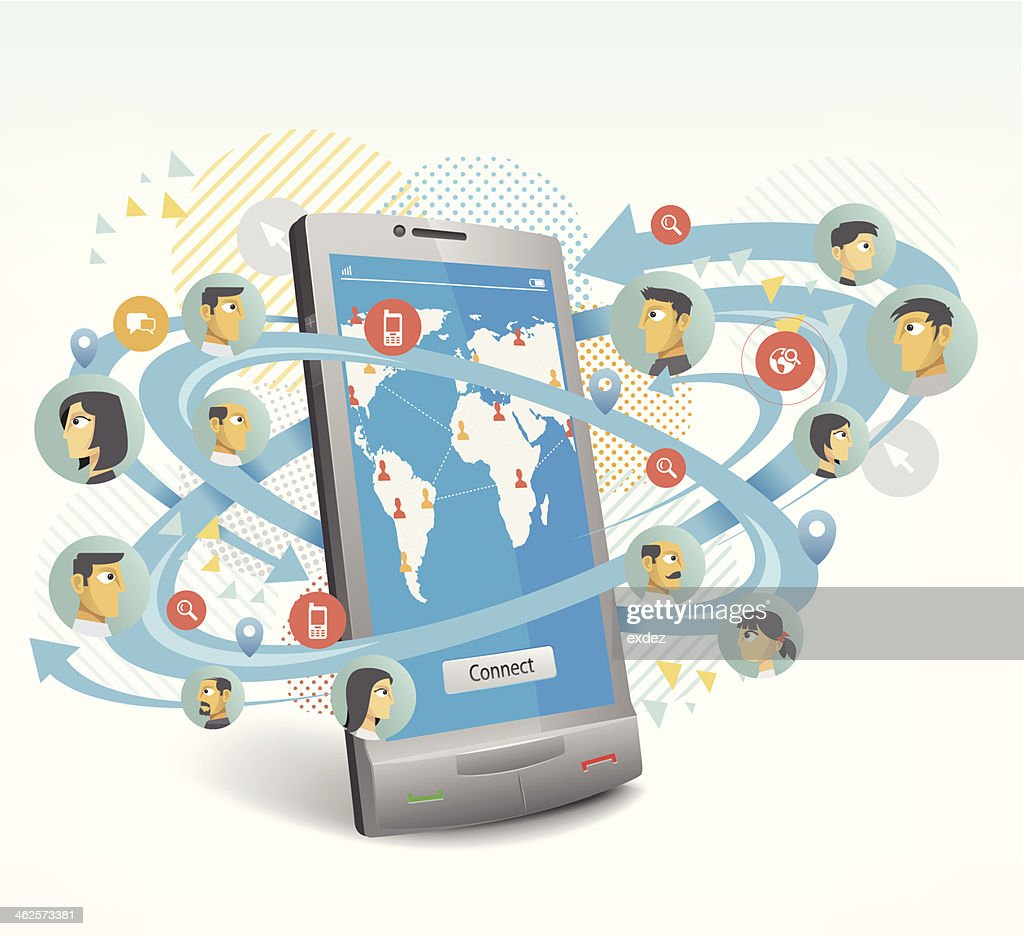 Social networking by smartphone. : stock illustration