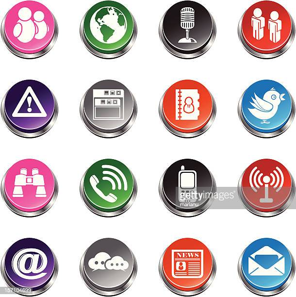 social networking icons - 3d push button series - answering machine stock illustrations, clip art, cartoons, & icons