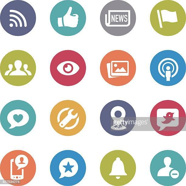 ilustrações de stock, clip art, desenhos animados e ícones de ícones de redes sociais-círculo série - verde descrição de cor