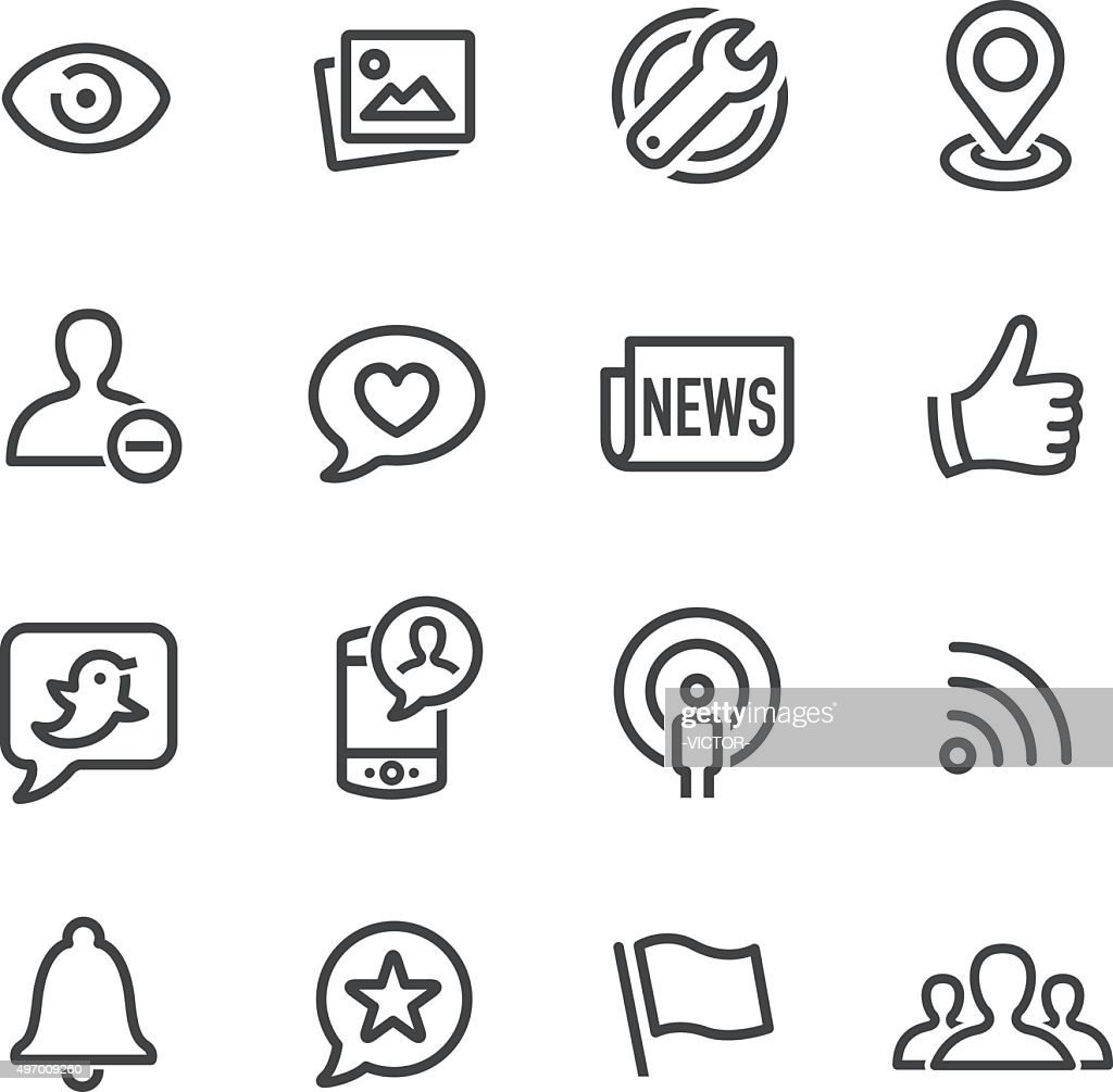 Social Networking Icons - Line Series
