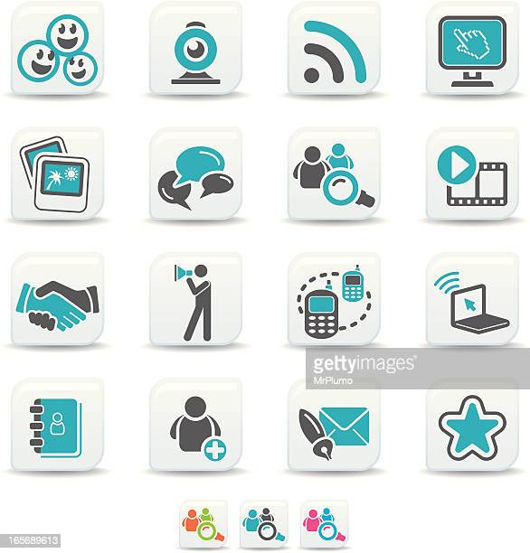 social networking icons | simicoso collection - webcam media apparaat stock illustrations