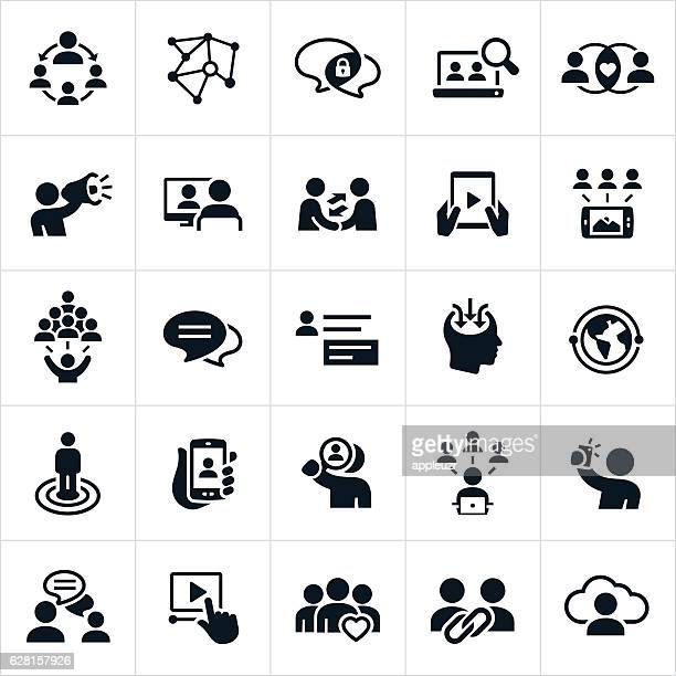 stockillustraties, clipart, cartoons en iconen met social networking icons - sociale bijeenkomst