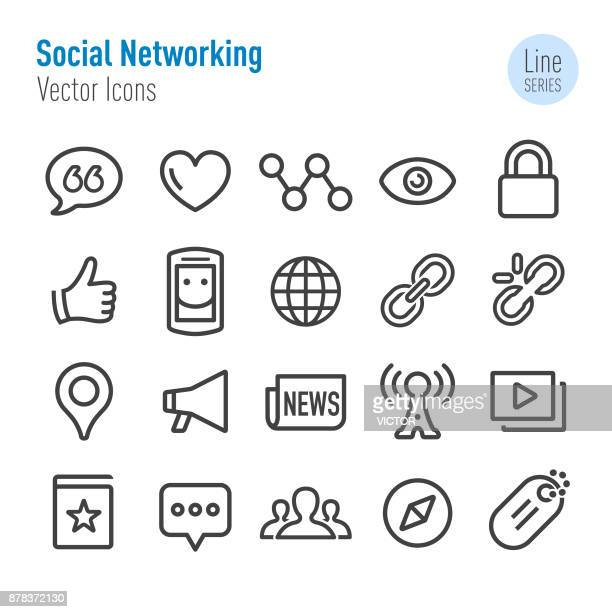 ilustrações, clipart, desenhos animados e ícones de ícones de redes sociais - vetor linha série - questão social