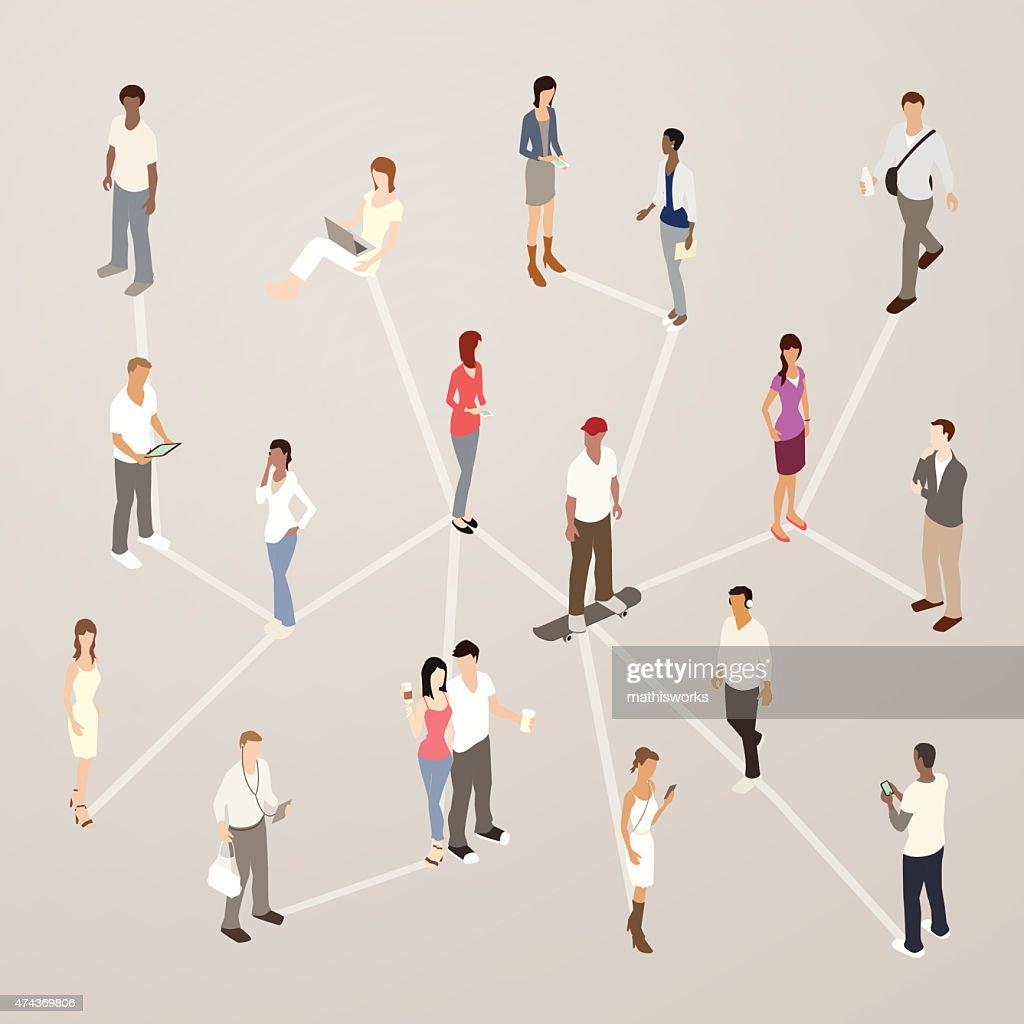 Social Networking Illustration : Vector Art