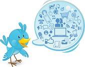 Social networking media bluebird with a speech bubble