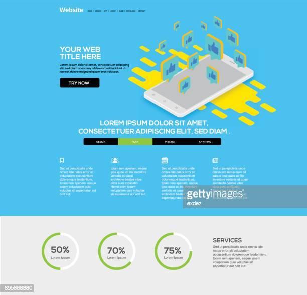 Social networking smartphone website design template