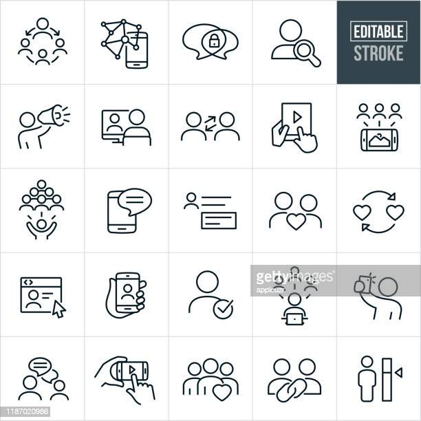social networking thin line icons - editable stroke - confidential stock illustrations