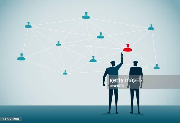 ソーシャルネットワーキング - 人材採用点のイラスト素材/クリップアート素材/マンガ素材/アイコン素材