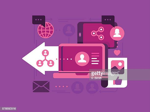 social networking - journalism stock illustrations