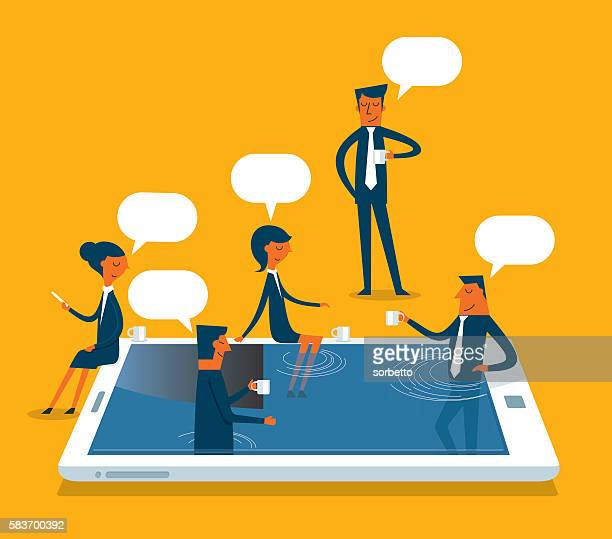 social networking - video conference stock illustrations