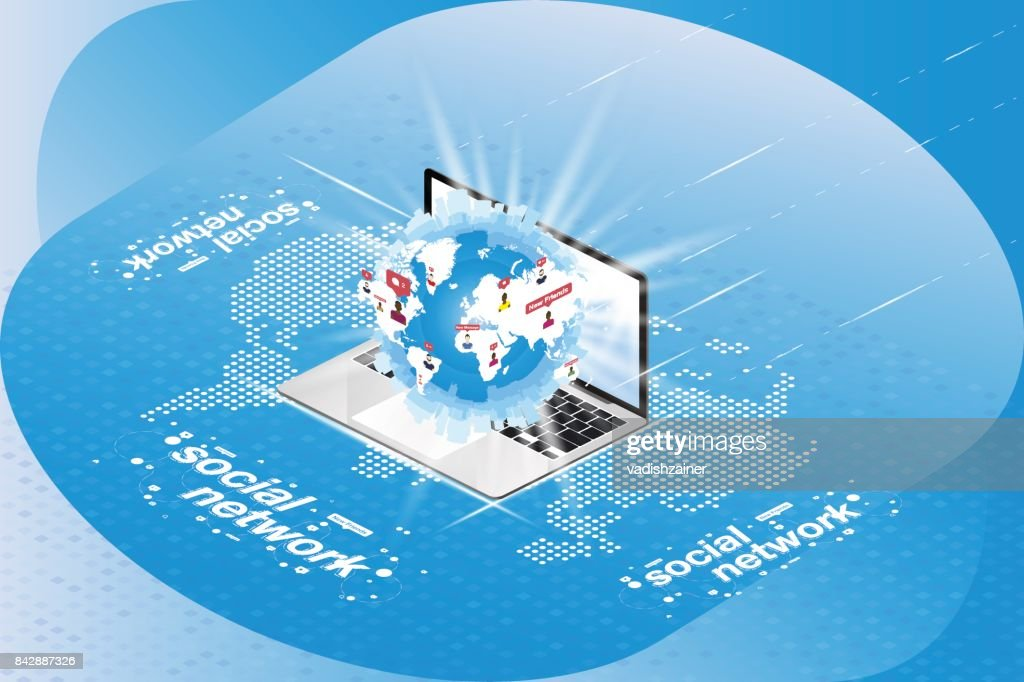 Social networks 3d isometric concept globe with icons of social networks 3d isometric concept globe with icons of notifications in a laptop on a background of a digital world map vector illustration eps 10 gumiabroncs Choice Image