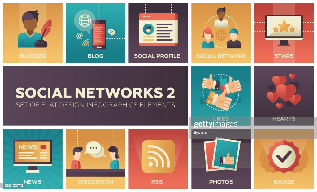 Social networks - modern set of flat design infographics elements