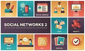 Social networks - modern set of flat design infographics elements