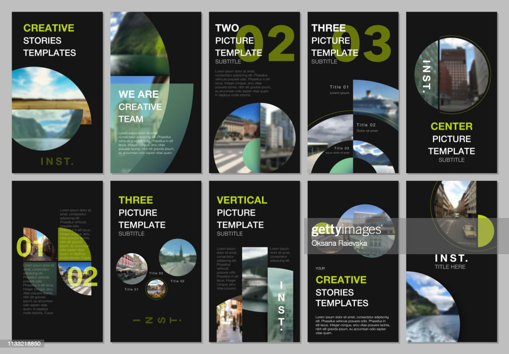 Social networks stories design, vertical banner or flyer templates with with colorful circle elements, round shapes. Covers design templates for flyer, leaflet, brochure, presentation, advertising.