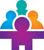 Social partnership group community network icon logo