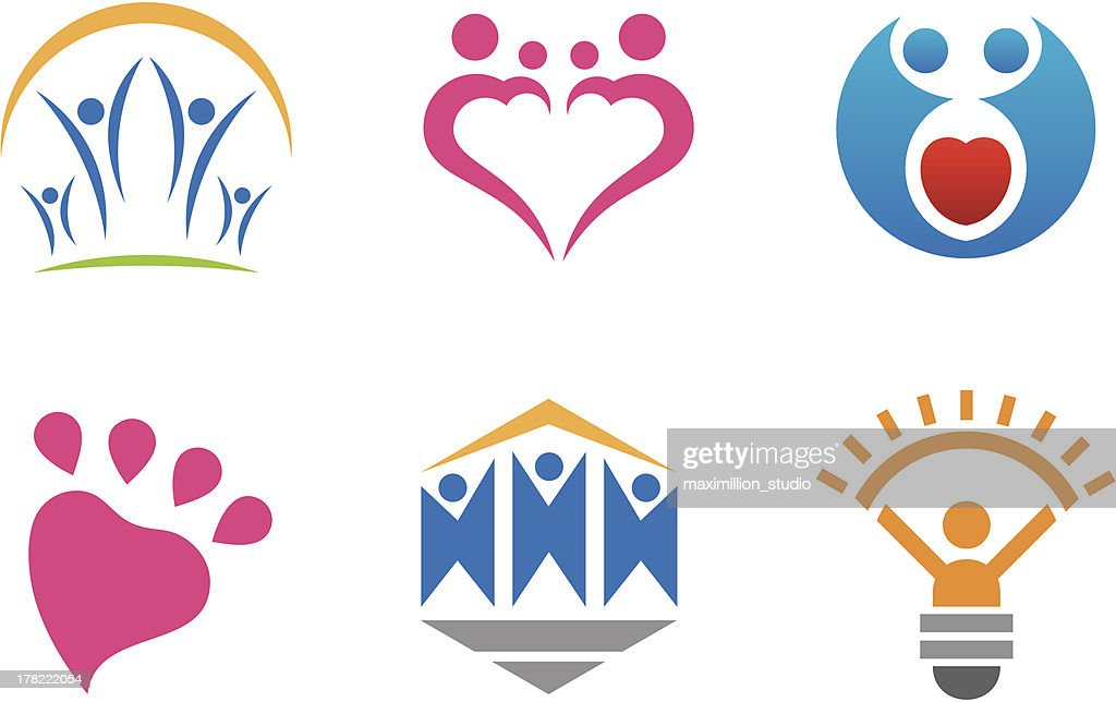 Social people logo community innovation and love as a bound