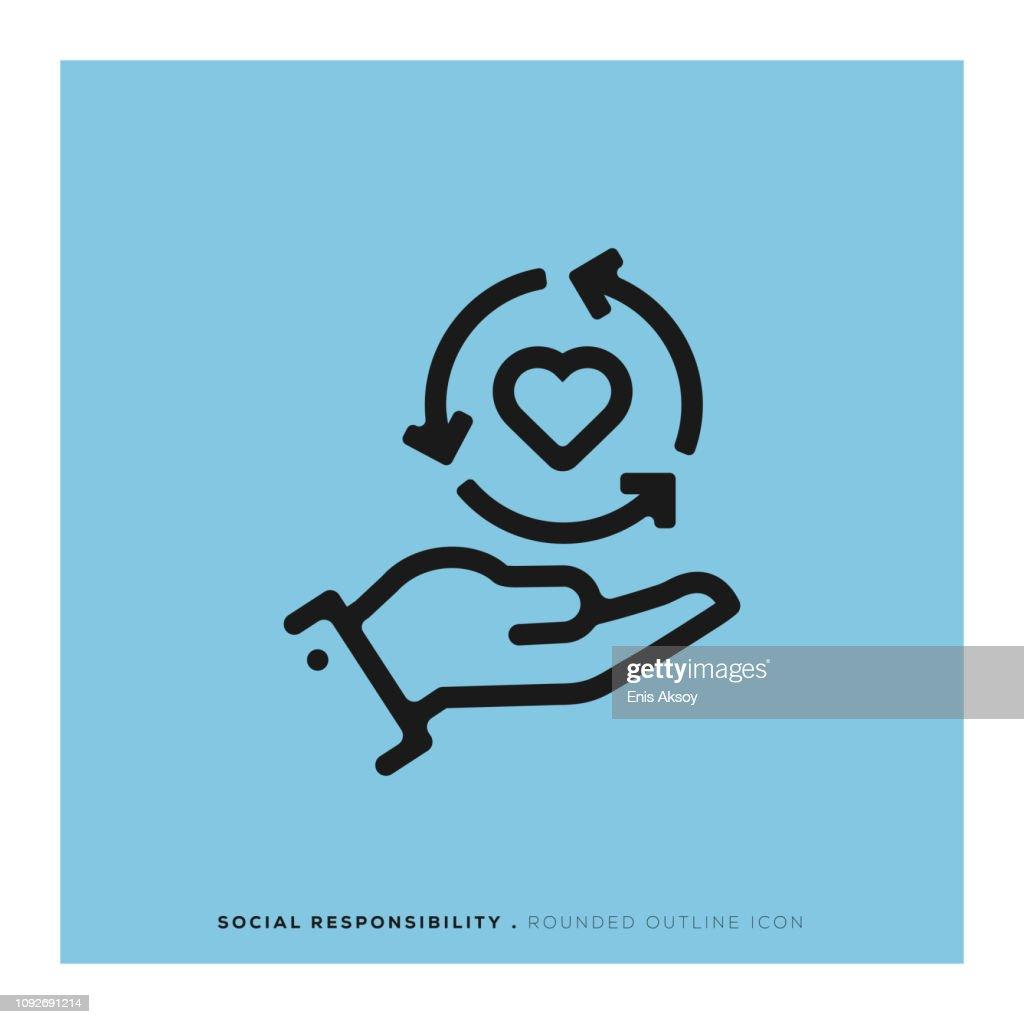 Soziale Verantwortung abgerundete Liniensymbol : Stock-Illustration