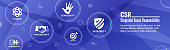 Social Responsibility Solid Icon Set - Honesty, integrity, collaboration, Web banner header