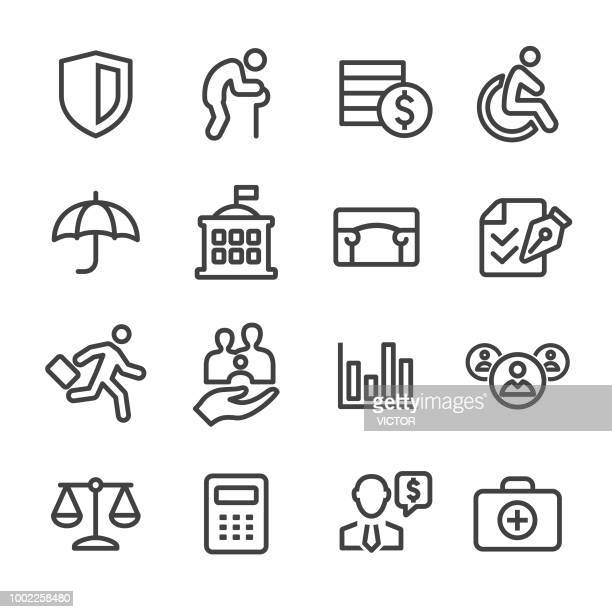 social security icons - line series - insurance agent stock illustrations, clip art, cartoons, & icons