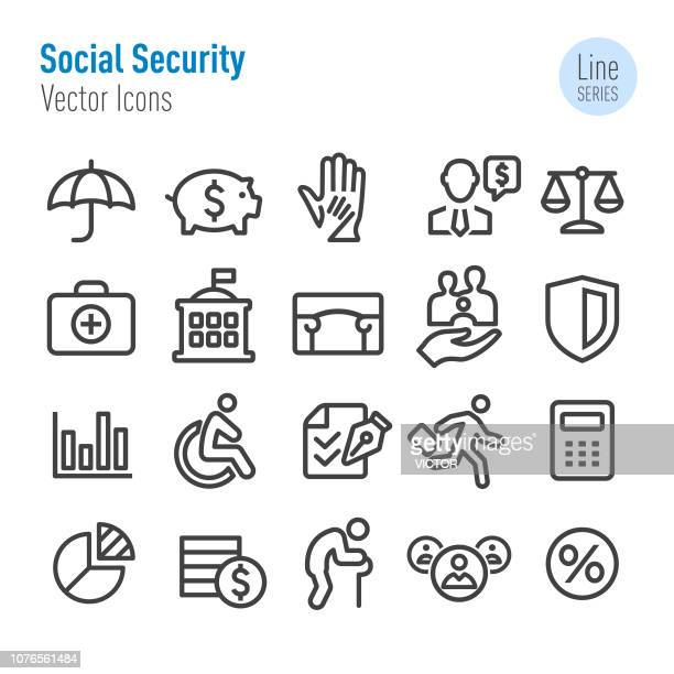 social security icons - vector line series - senior adult stock illustrations