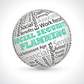 social security planning  vector theme sphere with keywords