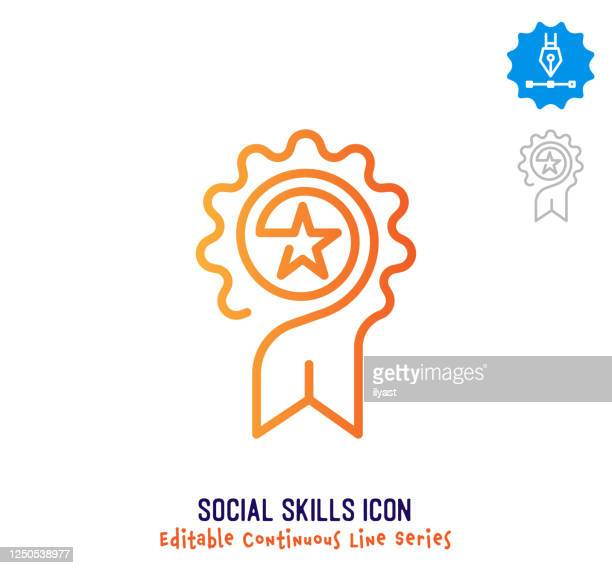 illustrazioni stock, clip art, cartoni animati e icone di tendenza di icona modificabile linea continua competenze sociali - continuità