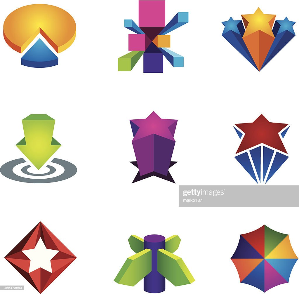 Social super star icon set web creativity logo illustration success