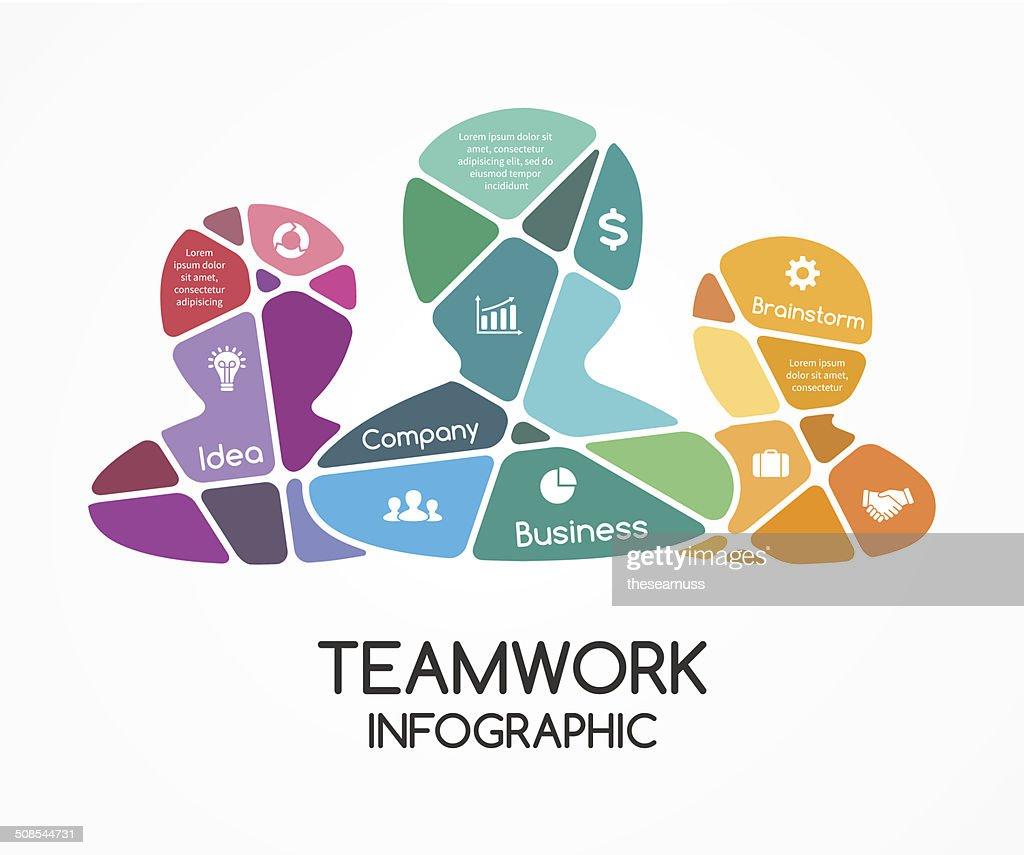 Social vector teamwork infographic. Business presentation.