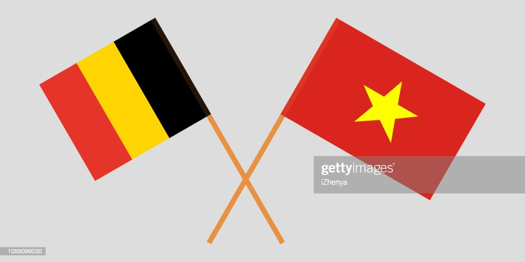Socialist Republic of Vietnam and Belgium. The Vietnamese and Belgian flags. Official colors. Correct proportion. Vector
