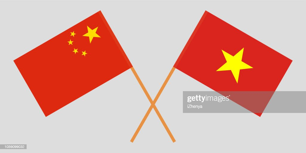 Socialist Republic of Vietnam and China. The Vietnamese and Chinese flags. Official colors. Correct proportion. Vector