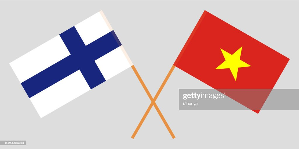 Socialist Republic of Vietnam and Finland. The Vietnamese and Finnish flags. Official colors. Correct proportion. Vector