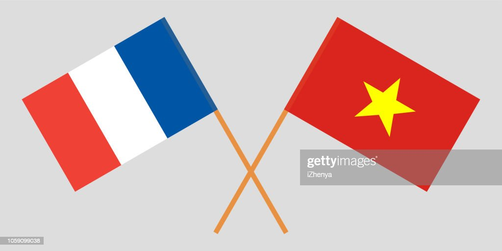 Socialist Republic of Vietnam and France. The Vietnamese and French flags. Official colors. Correct proportion. Vector