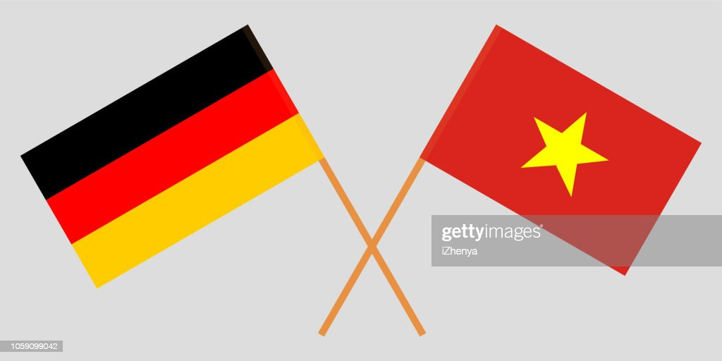 Socialist Republic of Vietnam and Germany. The Vietnamese and German flags. Official colors. Correct proportion. Vector