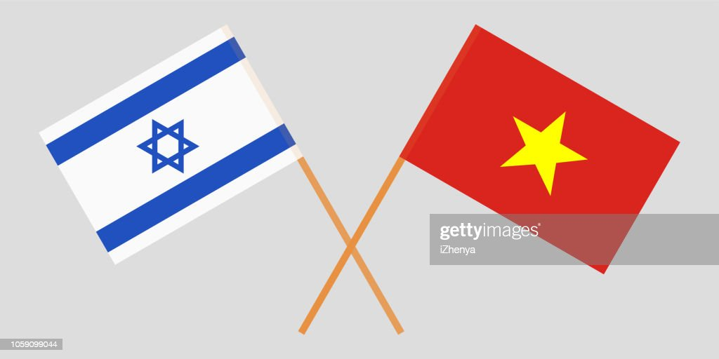 Socialist Republic of Vietnam and Israel. The Vietnamese and Israeli flags. Official colors. Correct proportion. Vector