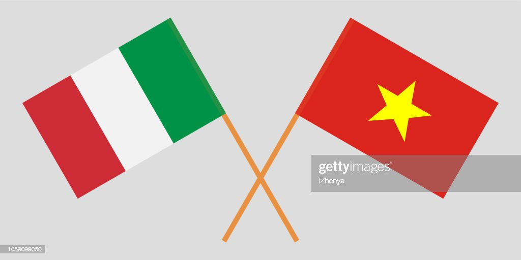 Socialist Republic of Vietnam and Italy. The Vietnamese and Italian flags. Official colors. Correct proportion. Vector