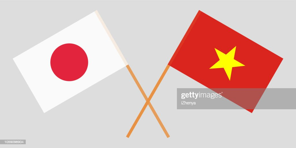 Socialist Republic of Vietnam and Japan. The Vietnamese and Japanese flags. Official colors. Correct proportion. Vector
