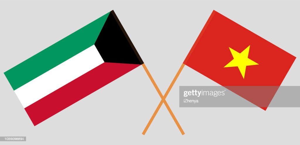 Socialist Republic of Vietnam and Kuwait opposition. The Vietnamese and Kuwaiti flags. Official colors. Correct proportion. Vector