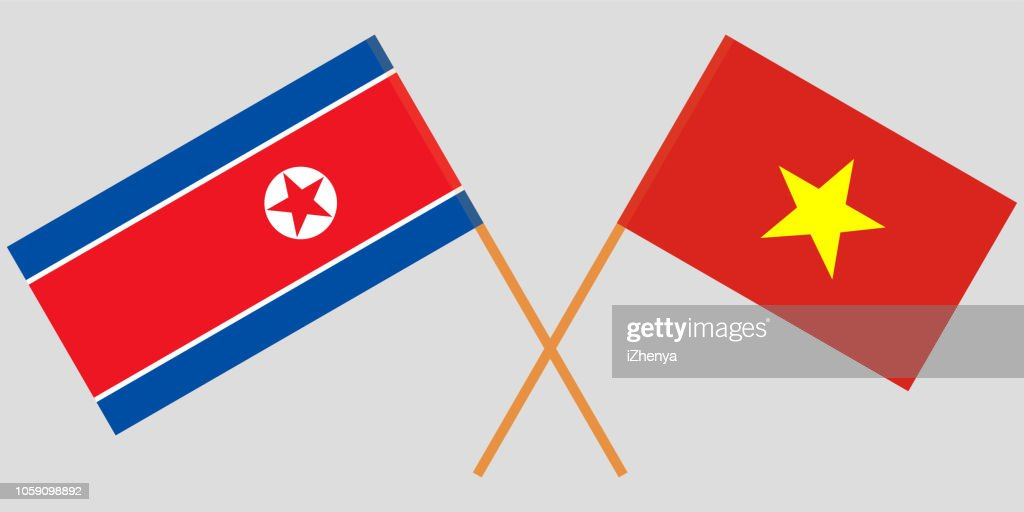 Socialist Republic of Vietnam and North Korea. The Vietnamese and Korean flags. Official colors. Correct proportion. Vector