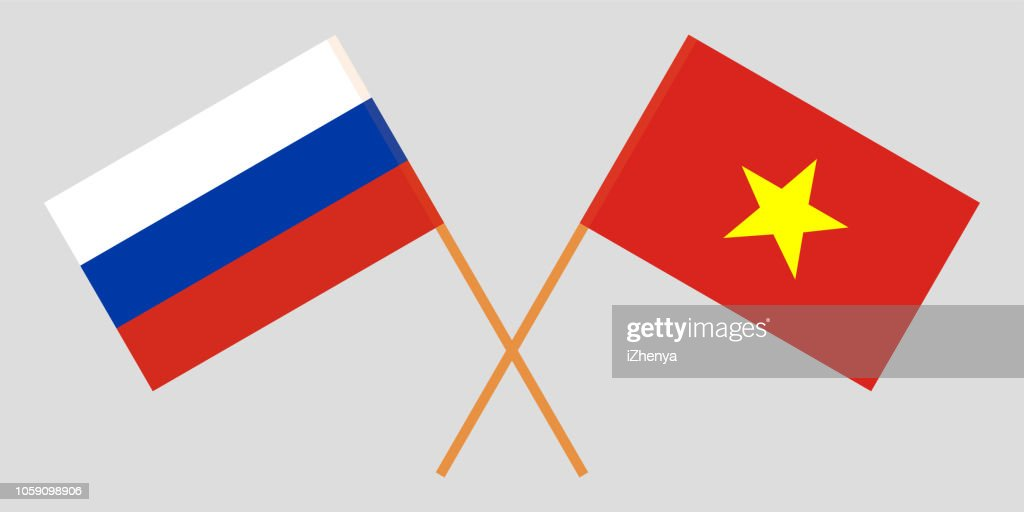 Socialist Republic of Vietnam and Russia. The Vietnamese and Russian flags. Official colors. Correct proportion. Vector