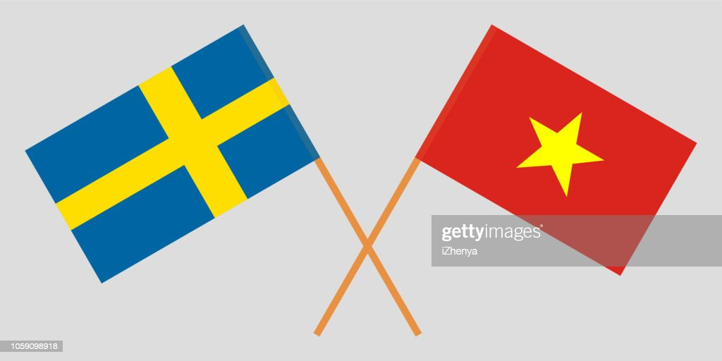 Socialist Republic of Vietnam and Sweden. The Vietnamese and Swedish flags. Official colors. Correct proportion. Vector