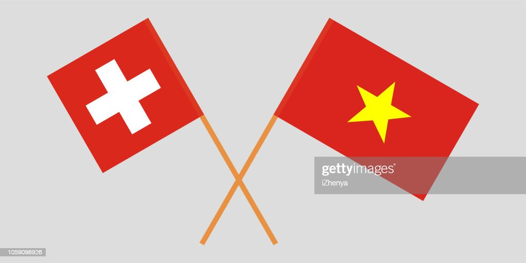 Socialist Republic of Vietnam and Switzerland. The Vietnamese and Swiss flags. Official colors. Correct proportion. Vector